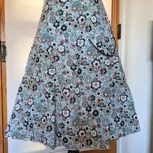 Lapis Aline Skirt Blue & Brown Floral XL